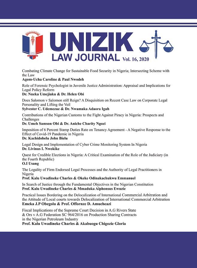 View Vol. 16 No. 1 (2020): UNIZIK LAW JOURNAL