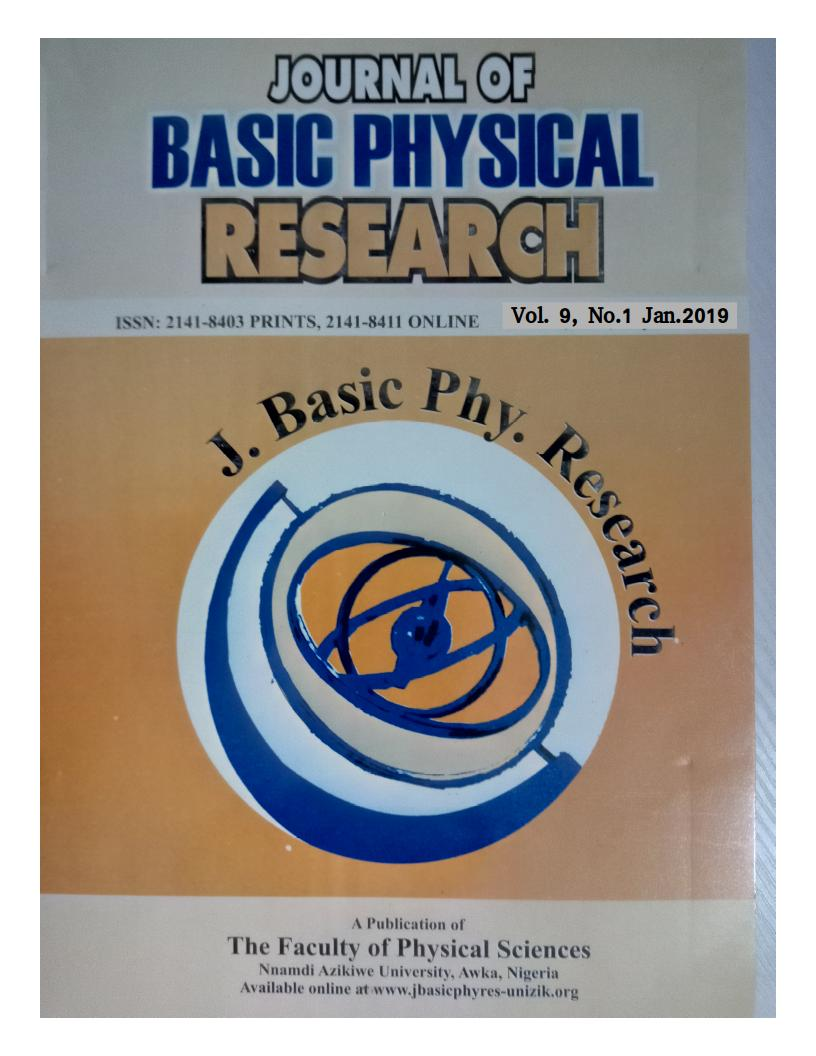 View Vol. 9 No. 1 (2019): JOURNAL OF BASIC PHYSICAL RESEARCH